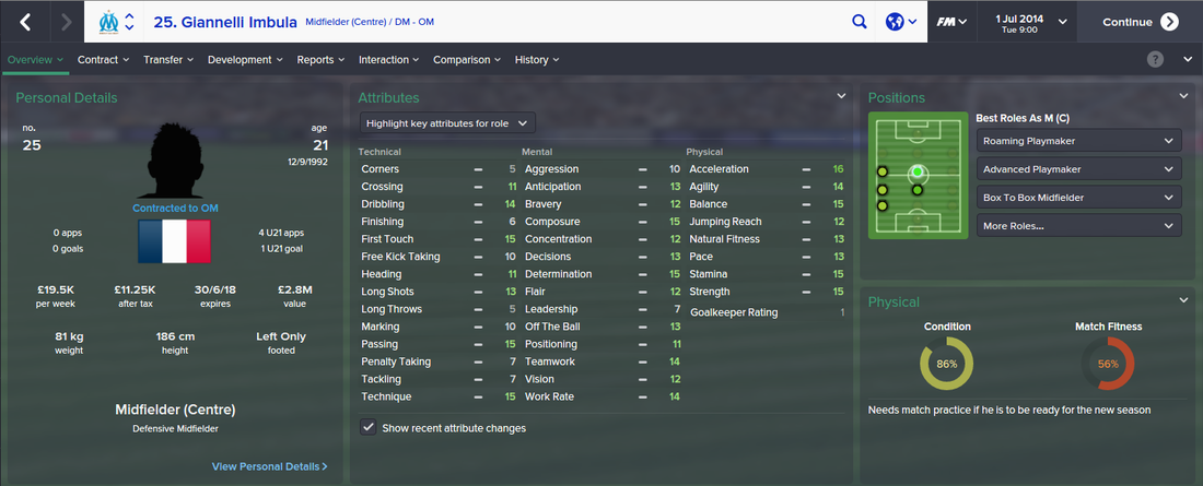 Giannelli Imbula, FM15, FM 2015, Football Manager 2015, 1st Season Screenshot