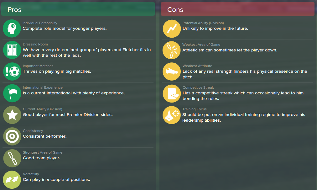 Darren Fletcher, FM15, FM 2015, Football Manager 2015, Scout Report, Pros & Cons