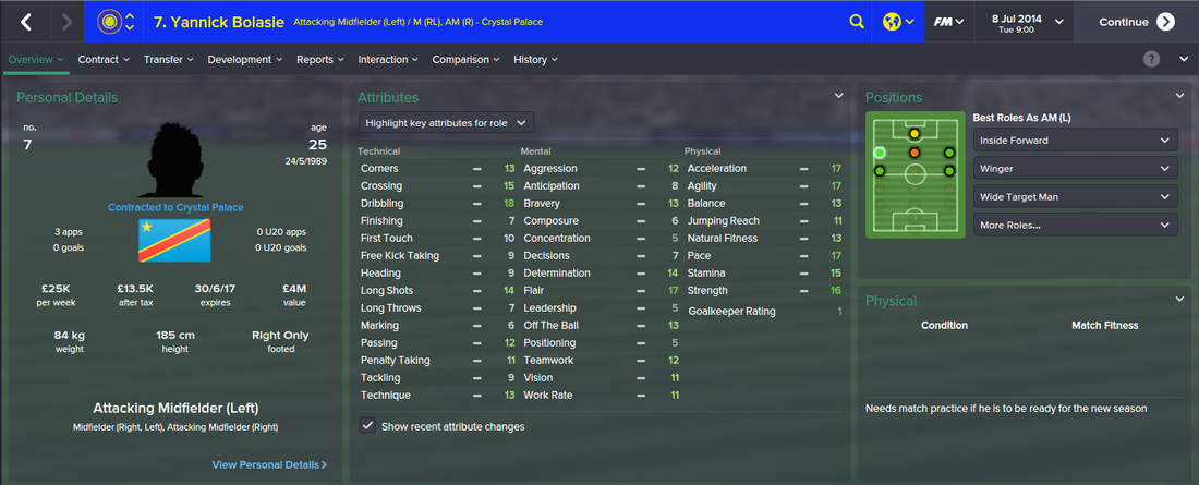 Yannick Bolasie, FM15, FM 2015, Football Manager 2015, 1st Season Screenshot