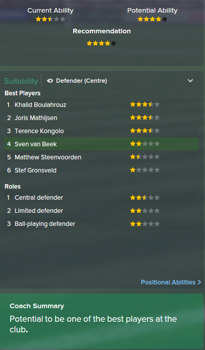 Sven van Beek, FM15, FM 2015, Football Manager 2015, Scout Report, Current & Potential Ability