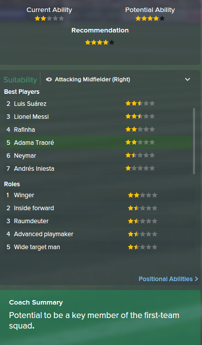 Adama Traore, FM15, FM 2015, Football Manager 2015, Scout Report, Current & Potential Ability