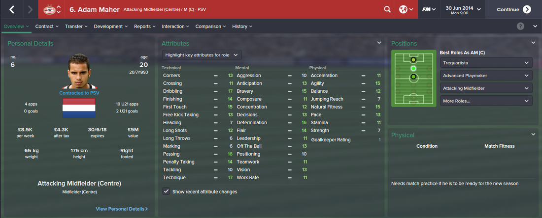 Adam Maher, FM15, FM 2015, Football Manager 2015, 1st Season Screenshot