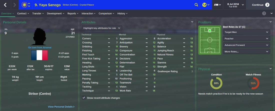 Yaya Sanogo, FM15, FM 2015, Football Manager 2015, 1st Season Screenshot