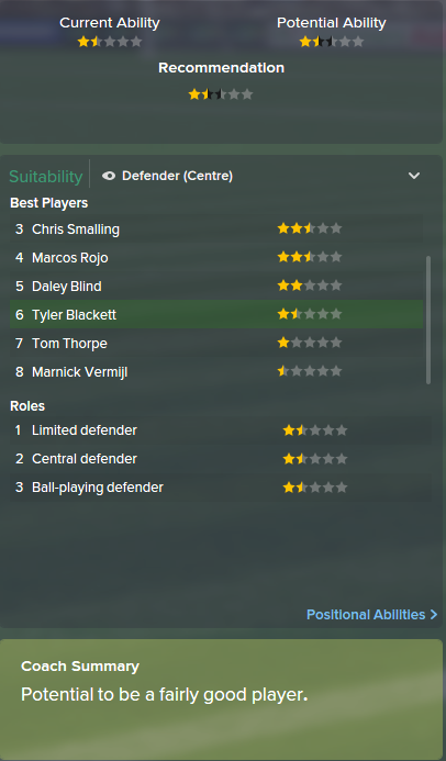Tyler Blackett, FM15, FM 2015, Football Manager 2015, Scout Report, Current & Potential Ability