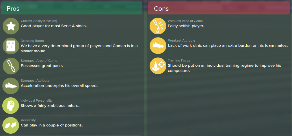 Kingsley Coman, FM15, FM 2015, Football Manager 2015, Scout Report, Pros & Cons