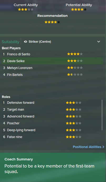 Davie Selke, FM15, FM 2015, Football Manager 2015, Scout Report, Current & Potential Ability