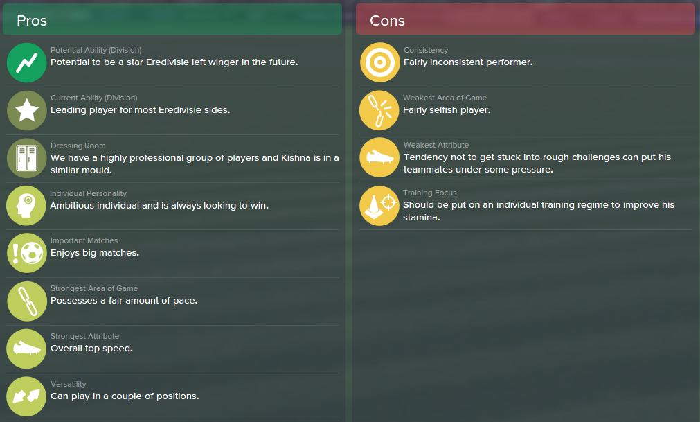 Ricardo Kishna, FM15, FM 2015, Football Manager 2015, Scout Report, Pros & Cons