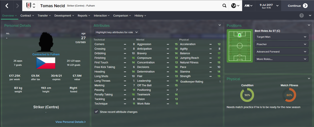 Tomas Necid, Football Manager 2015, FM15, FM 2015, 4th Season Screenshot