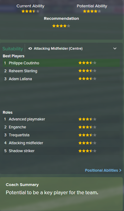 Philippe Coutinho, FM15, FM 2015, Football Manager 2015, Scout Report, Current & Potential Ability