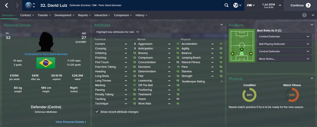 David Luiz, FM15, FM 2015, Football Manager 2015, 1st Season Screenshot