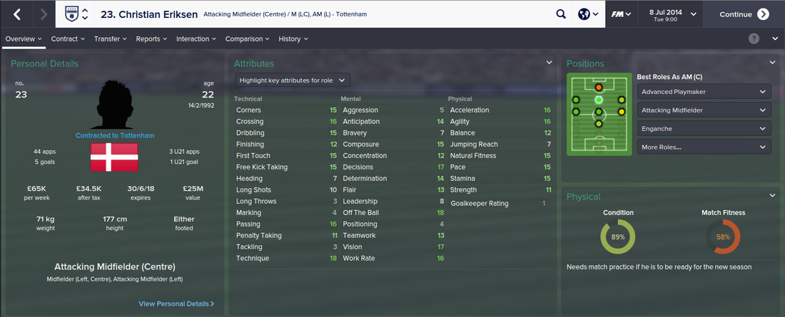 Christian Eriksen, FM15, FM 2015, Football Manager 2015, 1st Season Screenshot