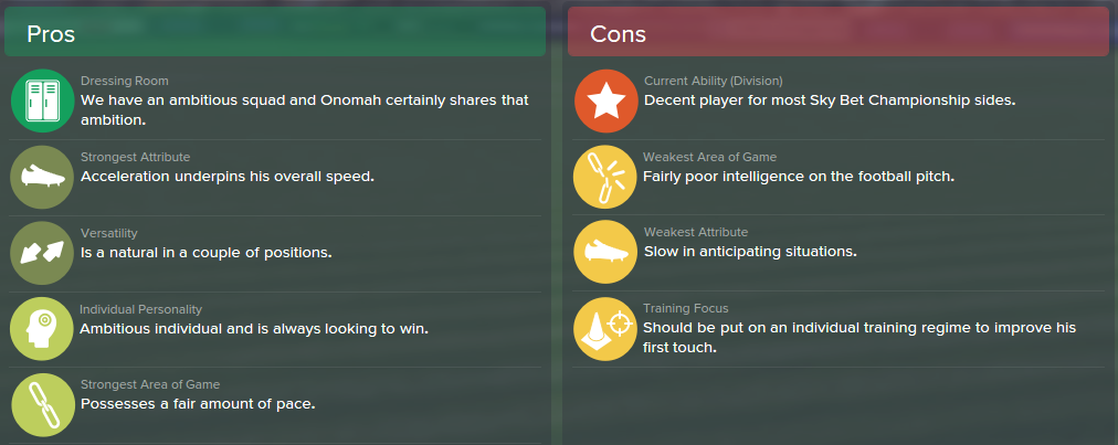 Joshua Onomah, FM15, FM 2015, Football Manager 2015, Scout Report, Pros & Cons
