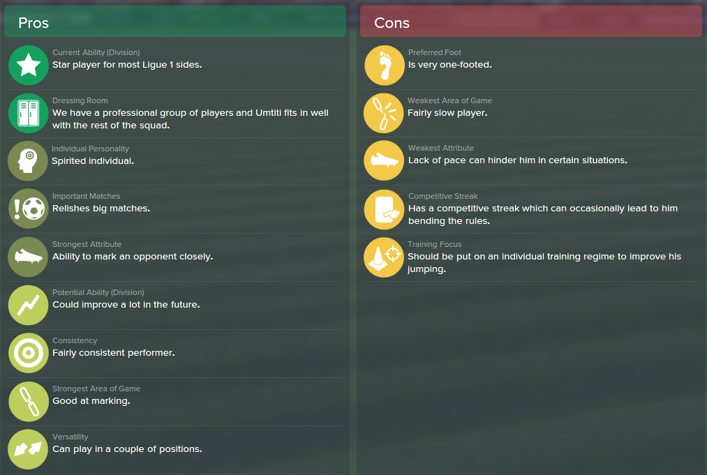 Samuel Umtiti, FM15, FM 2015, Football Manager 2015, Scout Report, Pros & Cons