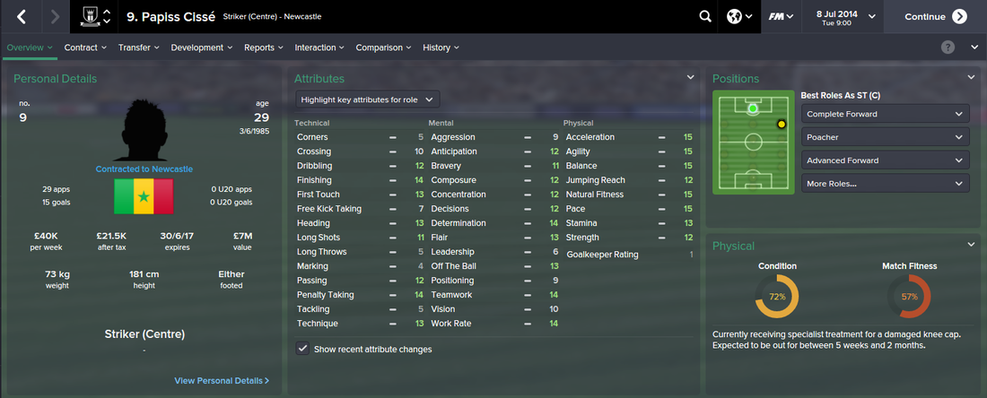 Papiss Cisse, FM15, FM 2015, Football Manager 2015, 1st Season Screenshot