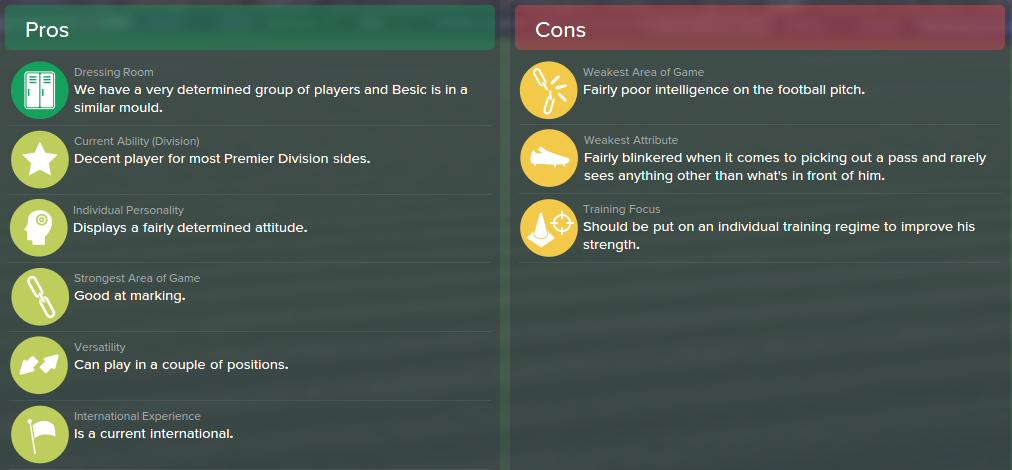 Muhamed Besic, FM15, FM 2015, Football Manager 2015, Scout Report, Pros & Cons
