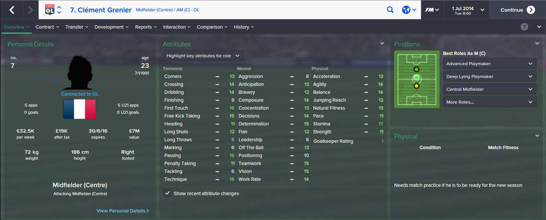 Clement Grenier, FM15, FM 2015, Football Manager 2015, 1st Season Screenshot
