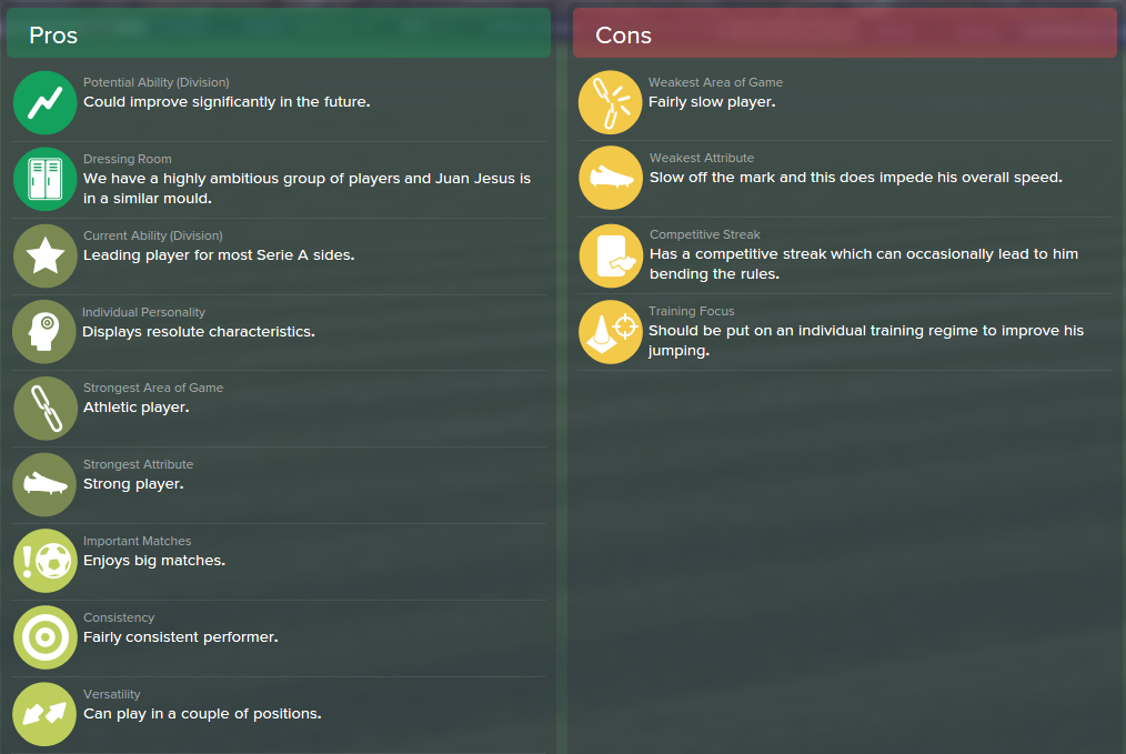 Juan Jesus, FM15, FM 2015, Football Manager 2015, Scout Report, Pros & Cons