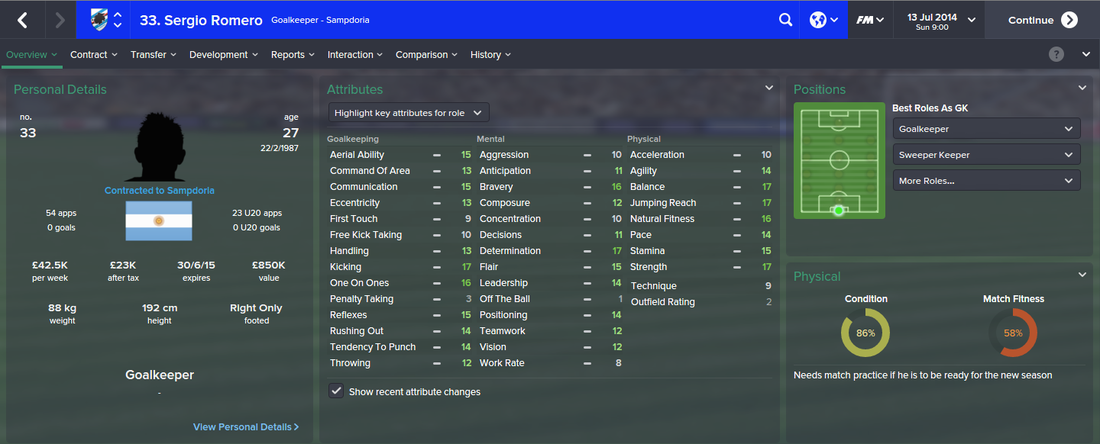 Sergio Romero, FM15, FM 2015, Football Manager 2015, 1st Season Screenshot