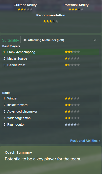 Frank Acheampong, FM15, FM 2015, Football Manager 2015, Scout Report, Current & Potential Ability
