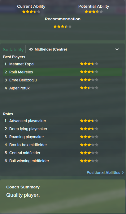Raul Meireles, FM15, FM 2015, Football Manager 2015, Scout Report, Current & Potential Ability