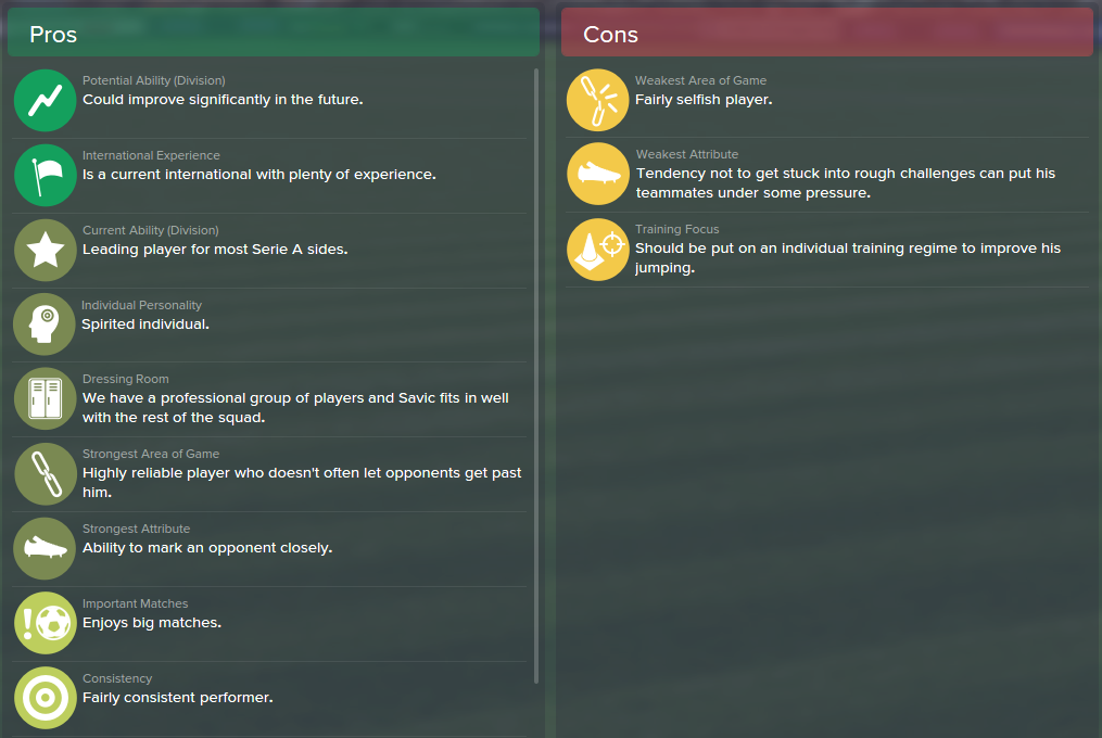 Stefan Savic, FM15, FM 2015, Football Manager 2015, Scout Report, Pros & Cons