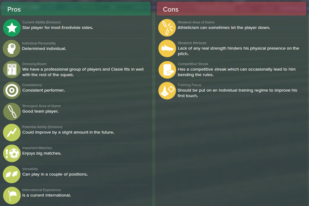 Jordy Clasie, FM15, FM 2015, Football Manager 2015, Scout Report, Pros & Cons