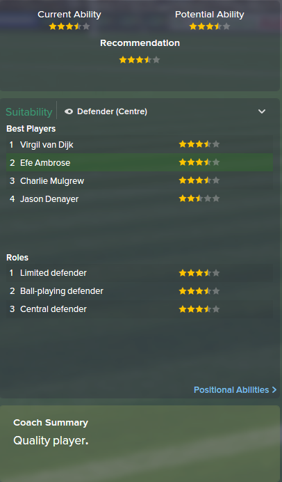 Efe Ambrose, FM15, FM 2015, Football Manager 2015, Scout Report, Current & Potential Ability