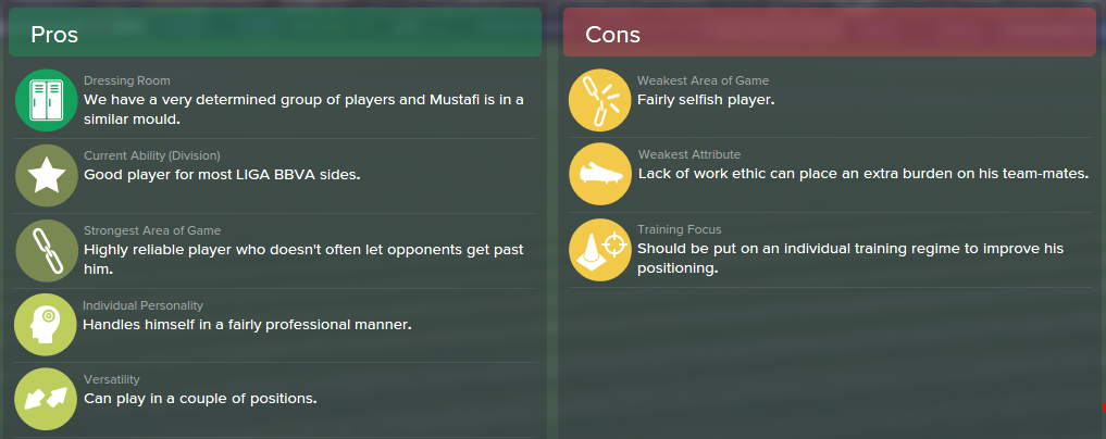 Shkodran Mustafi, FM15, FM 2015, Football Manager 2015, Scout Report, Pros & Cons