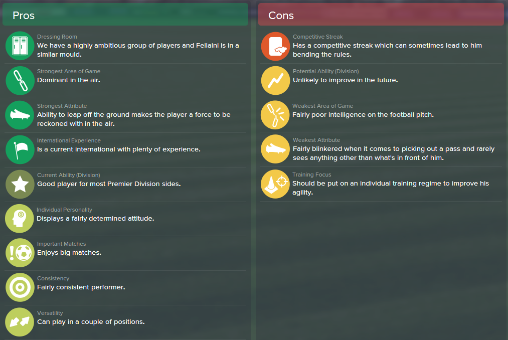 Marouane Fellaini, FM15, FM 2015, Football Manager 2015, Scout Report, Pros & Cons