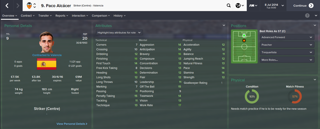 Paco Alcacer, FM15, FM 2015, Football Manager 2015, 1st Season Screenshot