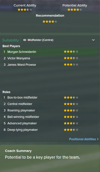 Morgan Schneiderlin, FM15, FM 2015, Football Manager 2015, Scout Report, Current & Potential Ability