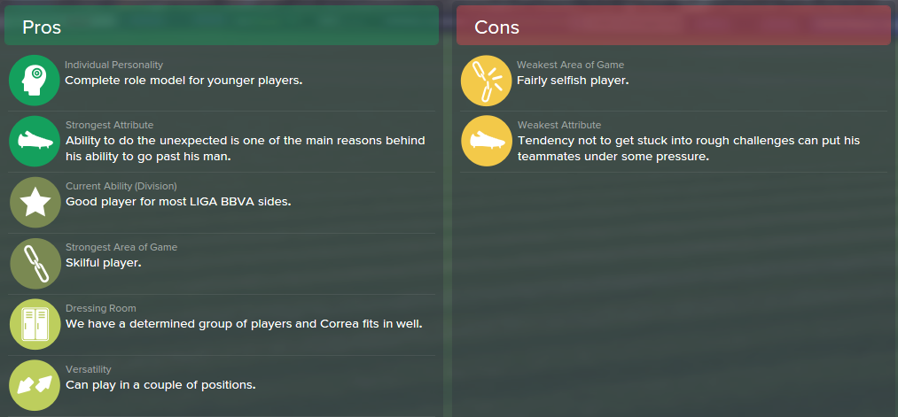 Angel Correa, FM15, FM 2015, Football Manager 2015, Scout Report, Pros & Cons