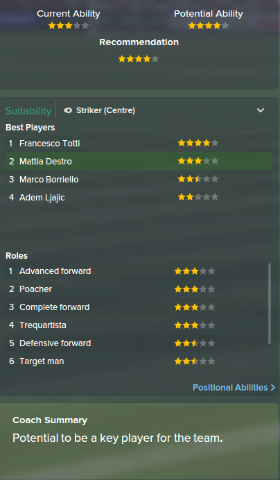 Mattia Destro, FM15, FM 2015, Football Manager 2015, Scout Report, Current & Potential Ability