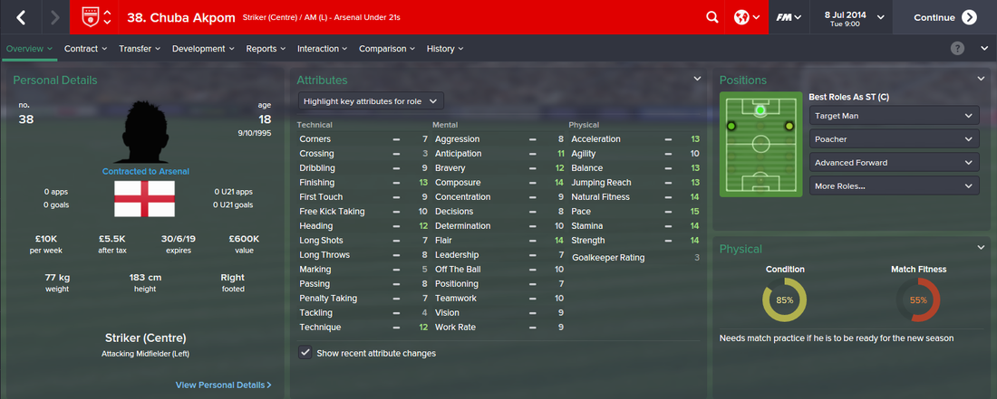 Chuba Akpom, FM15, FM 2015, Football Manager 2015, 1st Season Screenshot