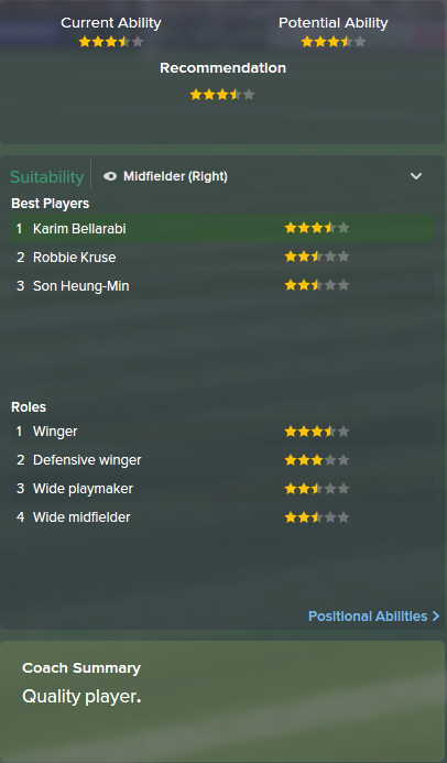 Karim Bellarabi, FM15, FM 2015, Football Manager 2015, Scout Report, Current & Potential Ability