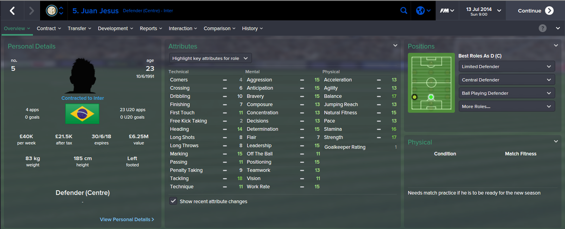 Juan Jesus, FM15, FM 2015, Football Manager 2015, 1st Season Screenshot