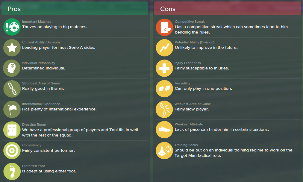 Luca Toni, FM15, FM 2015, Football Manager 2015, Scout Report, Pros & Cons