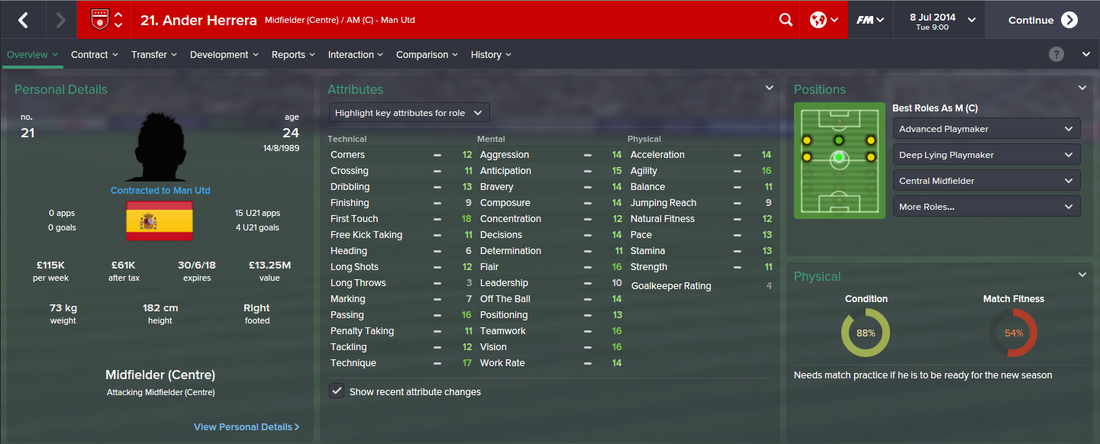 Ander Herrera, FM15, FM 2015, Football Manager 2015, 1st Season Screenshot