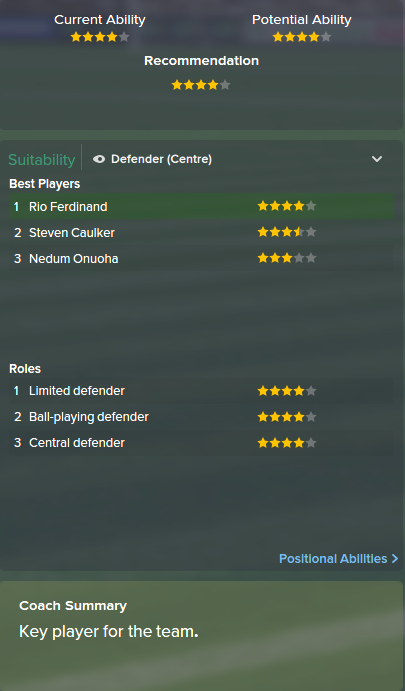 Rio Ferdinand, FM15, FM 2015, Football Manager 2015, Scout Report, Current & Potential Ability