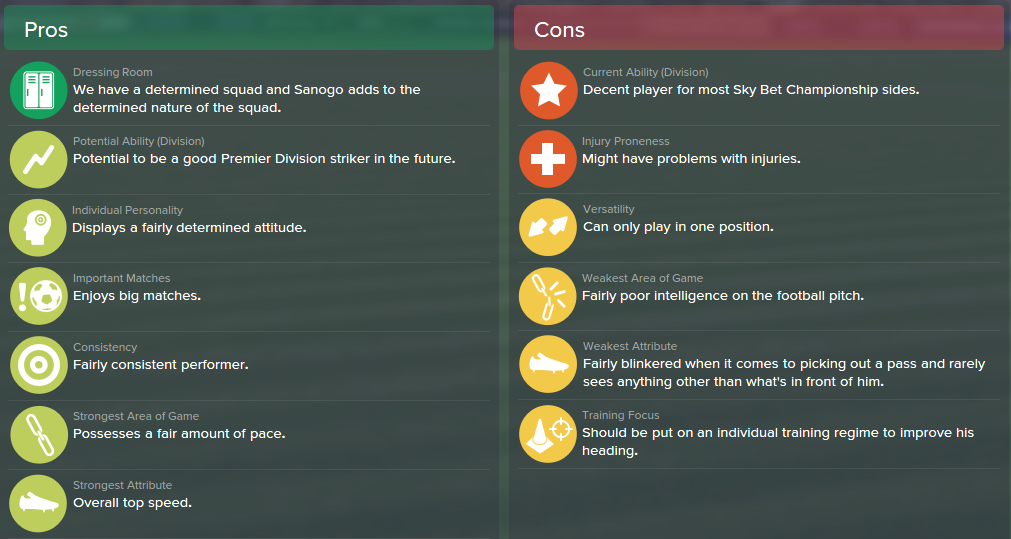 Yaya Sanogo, FM15, FM 2015, Football Manager 2015, Scout Report, Pros & Cons