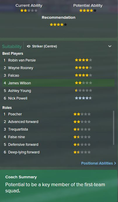 James Wilson, FM15, FM 2015, Football Manager 2015, Scout Report, Current & Potential Ability