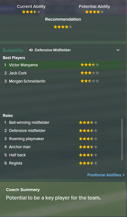 Victor Wanyama, FM15, FM 2015, Football Manager 2015, Scout Report, Current & Potential Ability
