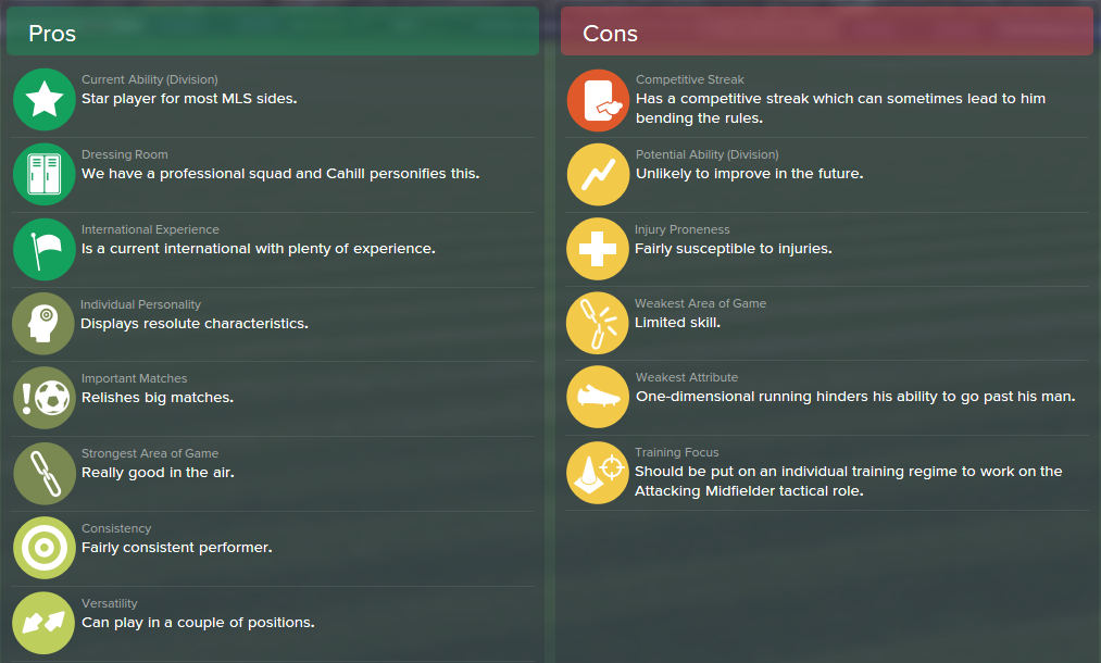 Tim Cahill, FM15, FM 2015, Football Manager 2015, Scout Report, Pros & Cons