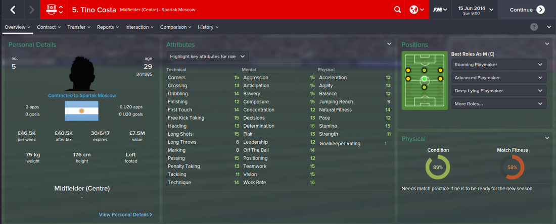 Tino Costa, Football Manager 2015, FM15, FM 2015, 1st Season Screenshot