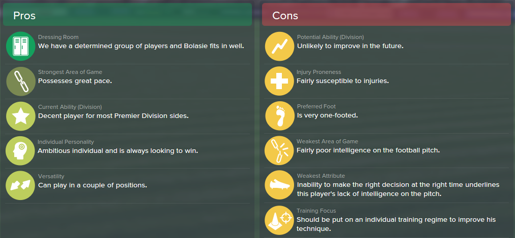 Yannick Bolasie, FM15, FM 2015, Football Manager 2015, Scout Report, Pros & Cons