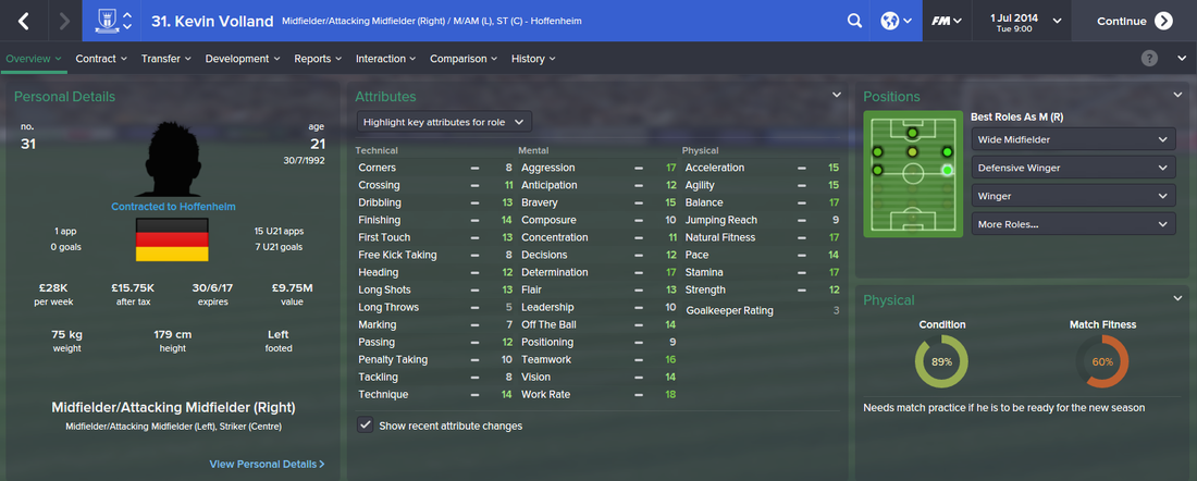 Kevin Volland, FM15, FM 2015, Football Manager 2015, 1st Season Screenshot