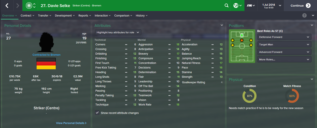 Davie Selke, FM15, FM 2015, Football Manager 2015, 1st Season Screenshot