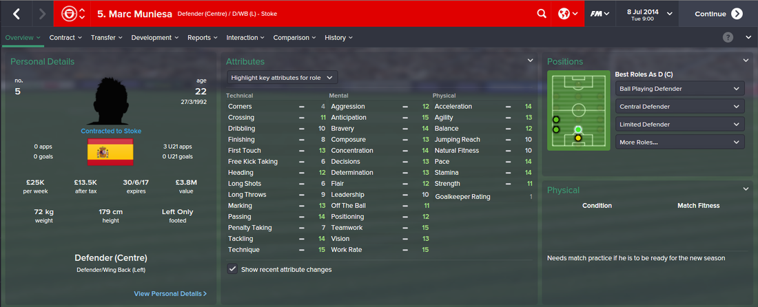 Marc Muniesa, FM15, FM 2015, Football Manager 2015, 1st Season Screenshot