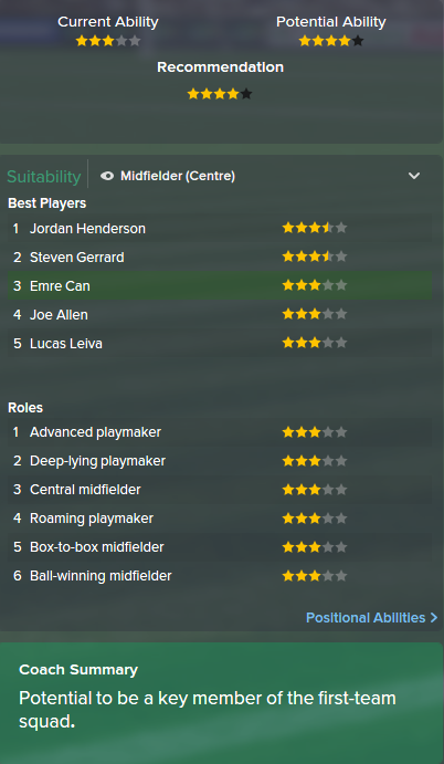 Emre Can, FM15, FM 2015, Football Manager 2015, Scout Report, Current & Potential Ability