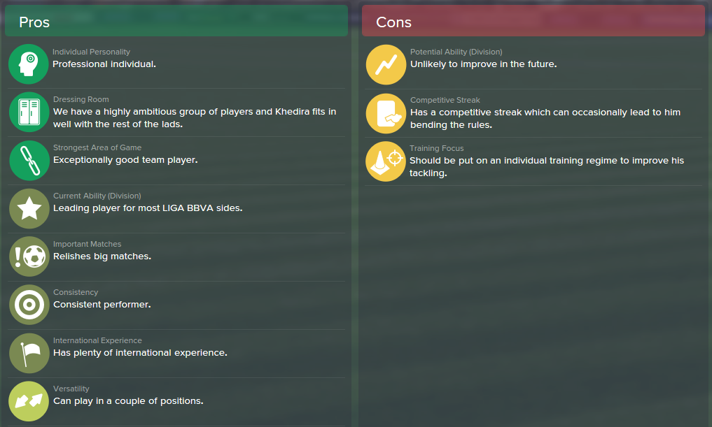 Sami Khedira, FM15, FM 2015, Football Manager 2015, Scout Report, Pros & Cons
